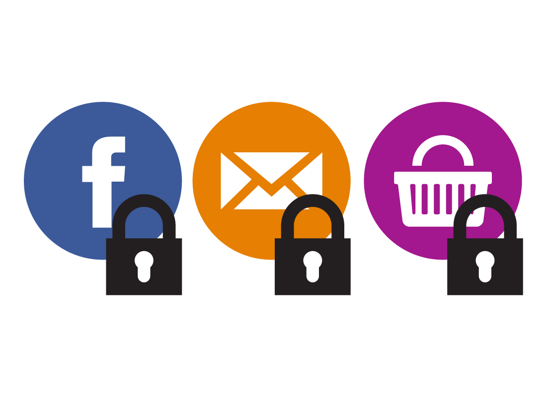Facebook, email and shopping basket icons all with padlocks on them