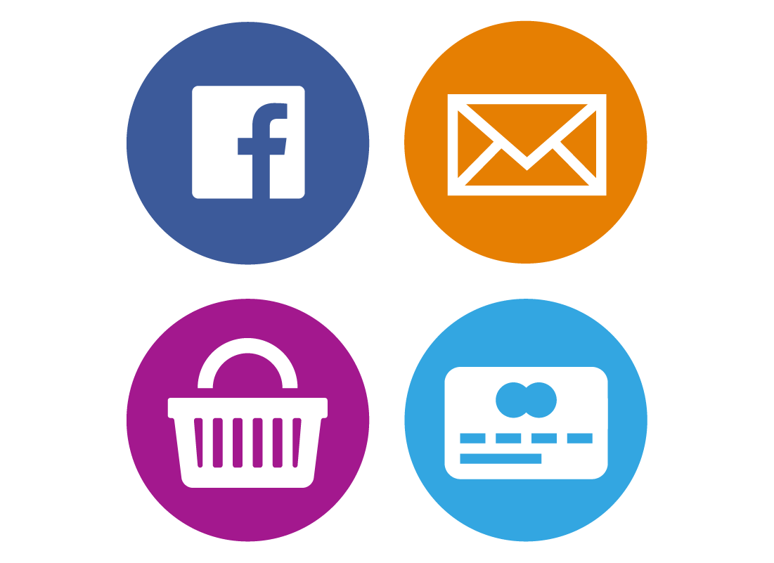 Icons representing social media, email, online shopping and online banking