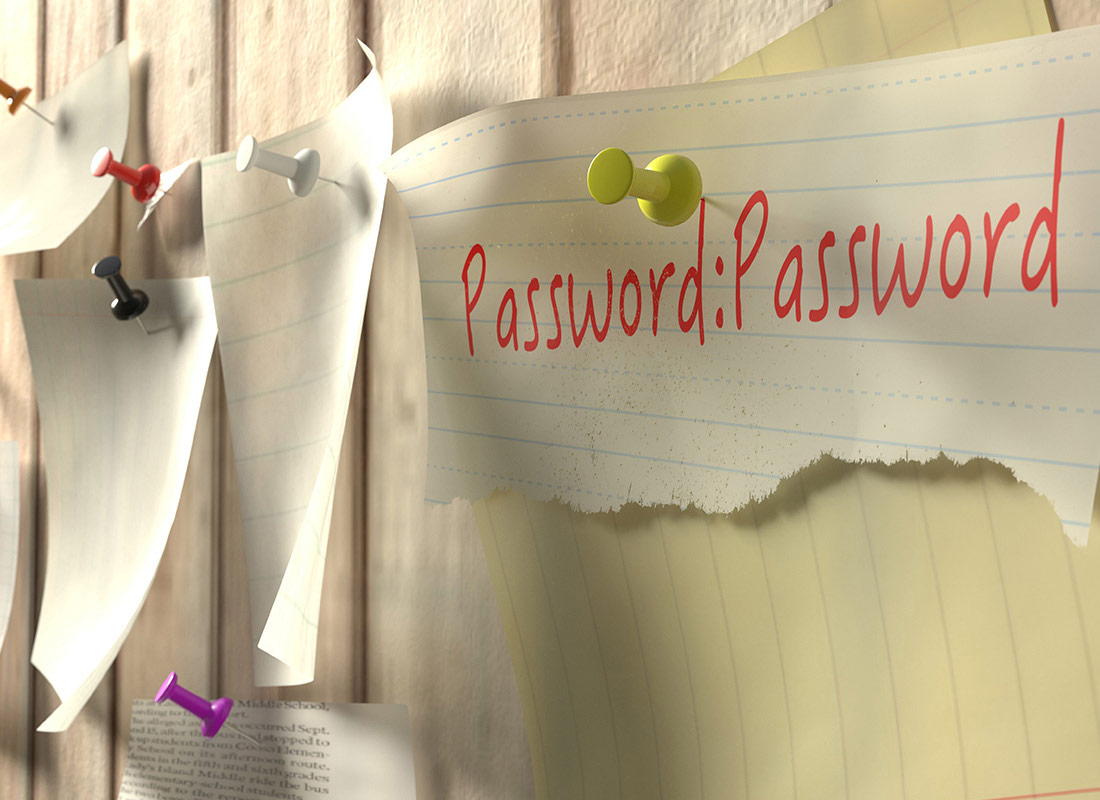 A notice board with a note showing that a password is the word password.