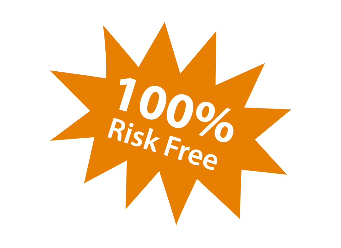 Visual stamp that says '100% risk free'