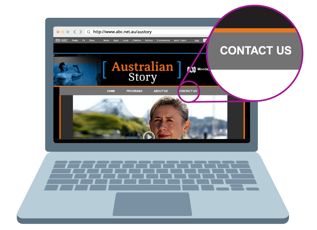 An example of a contact us link on a website