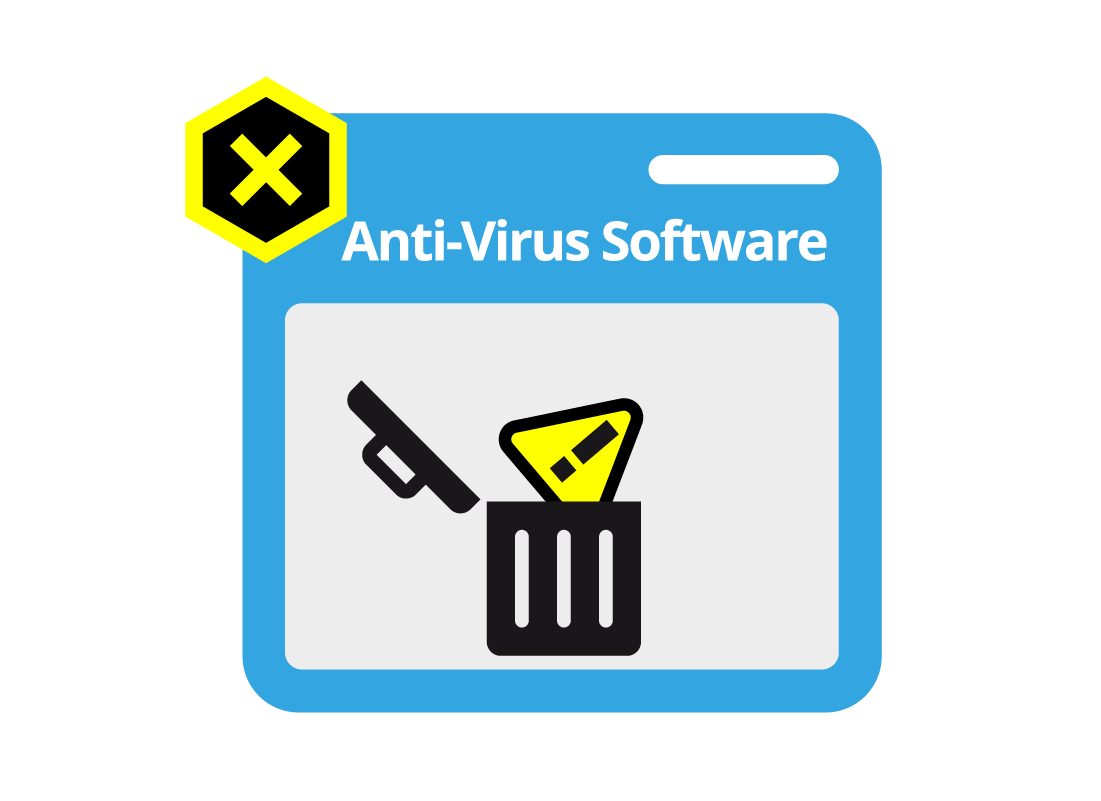 Anti virus software illustration showing a warning sign in a bin