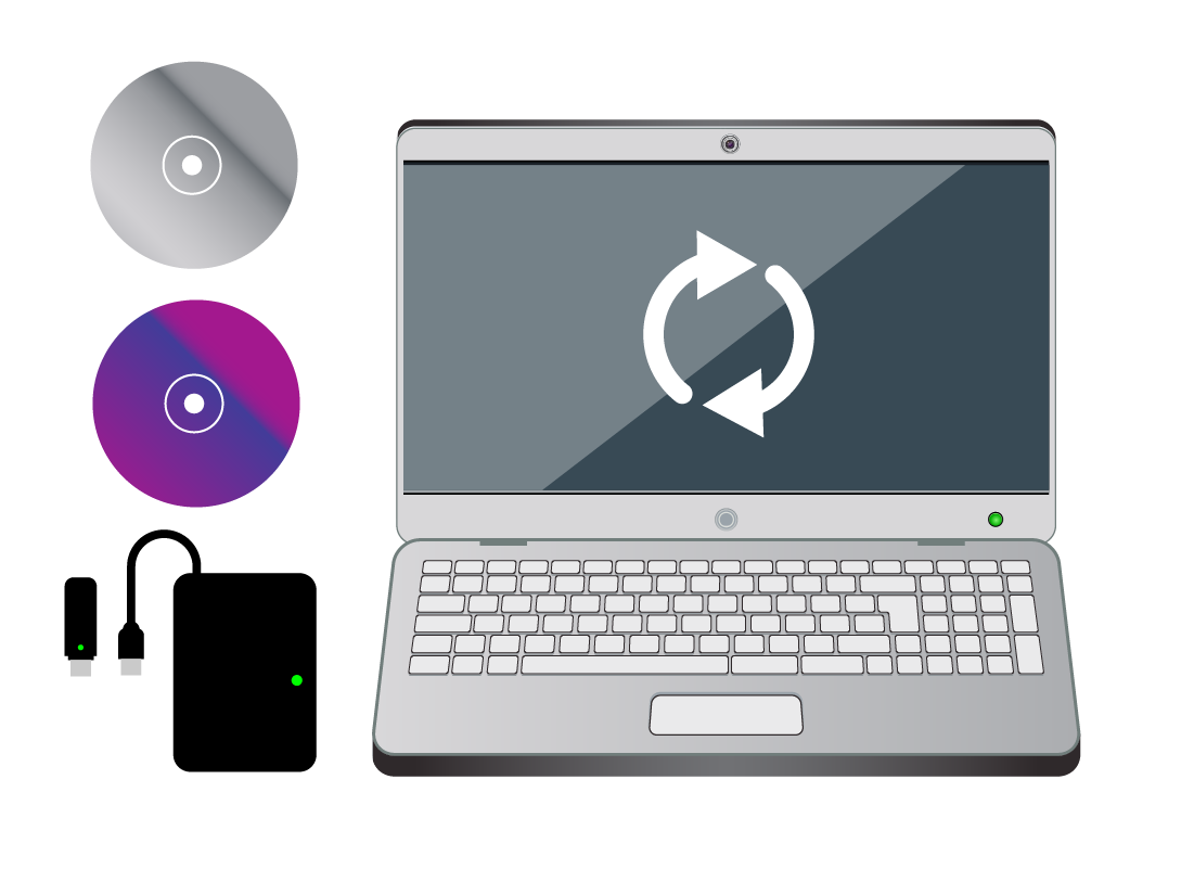 A laptop backing up with cd, dvd, USB and hard drive options for saving