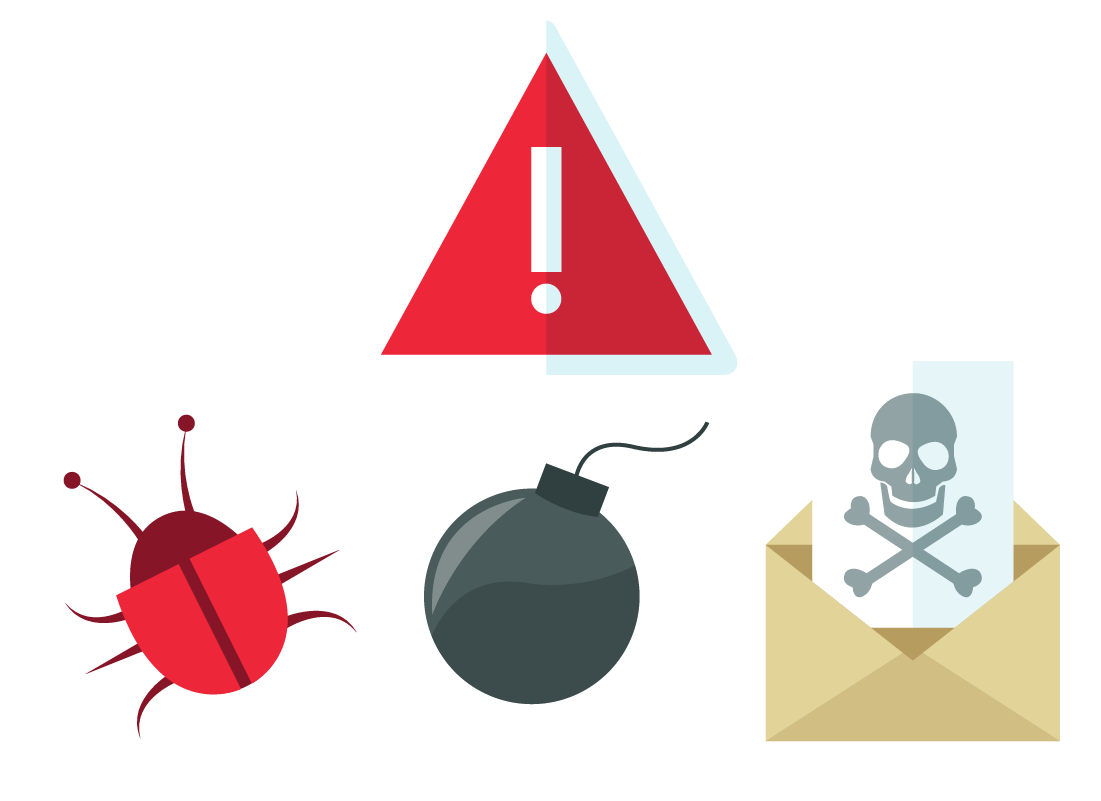 Illustrations of a warning symbol, a bug, a bomb and a death note