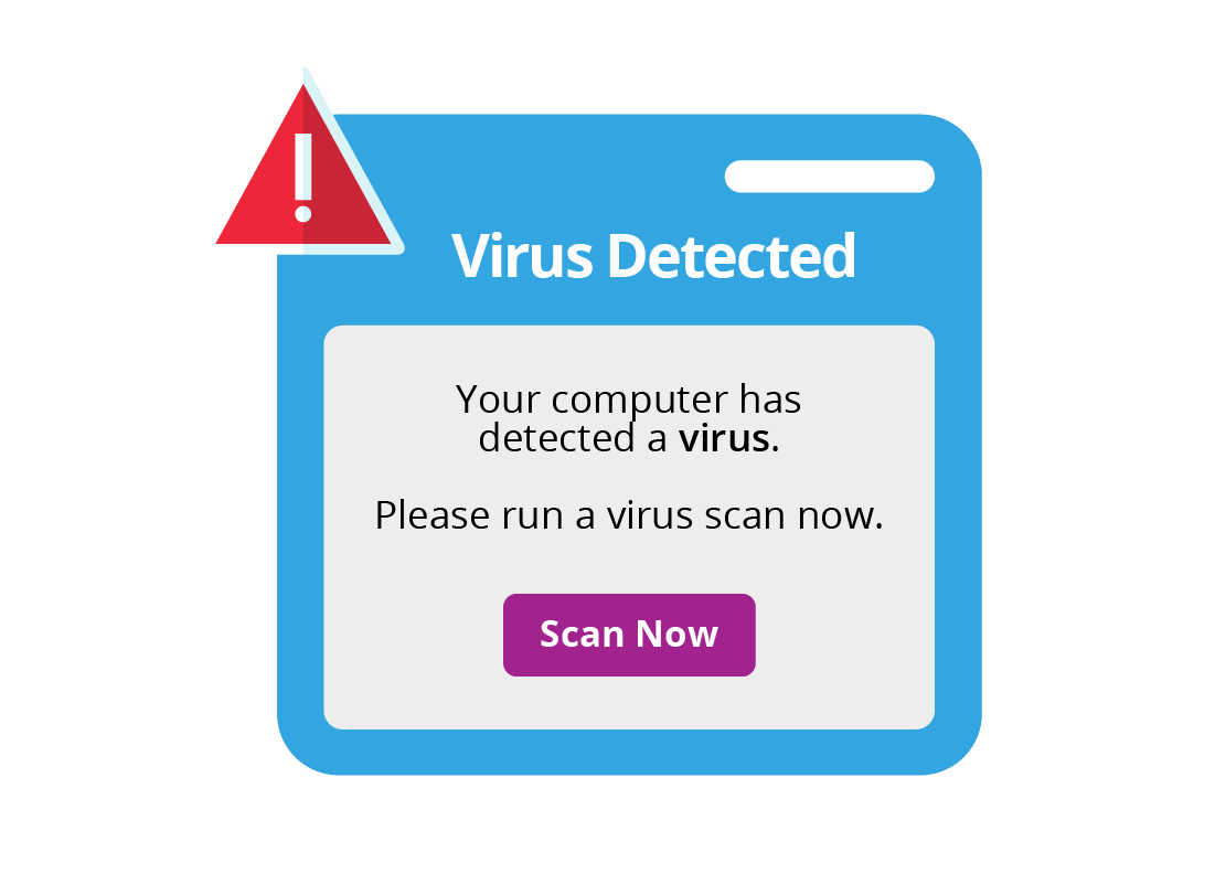 Pop up window showing a virus has been detected