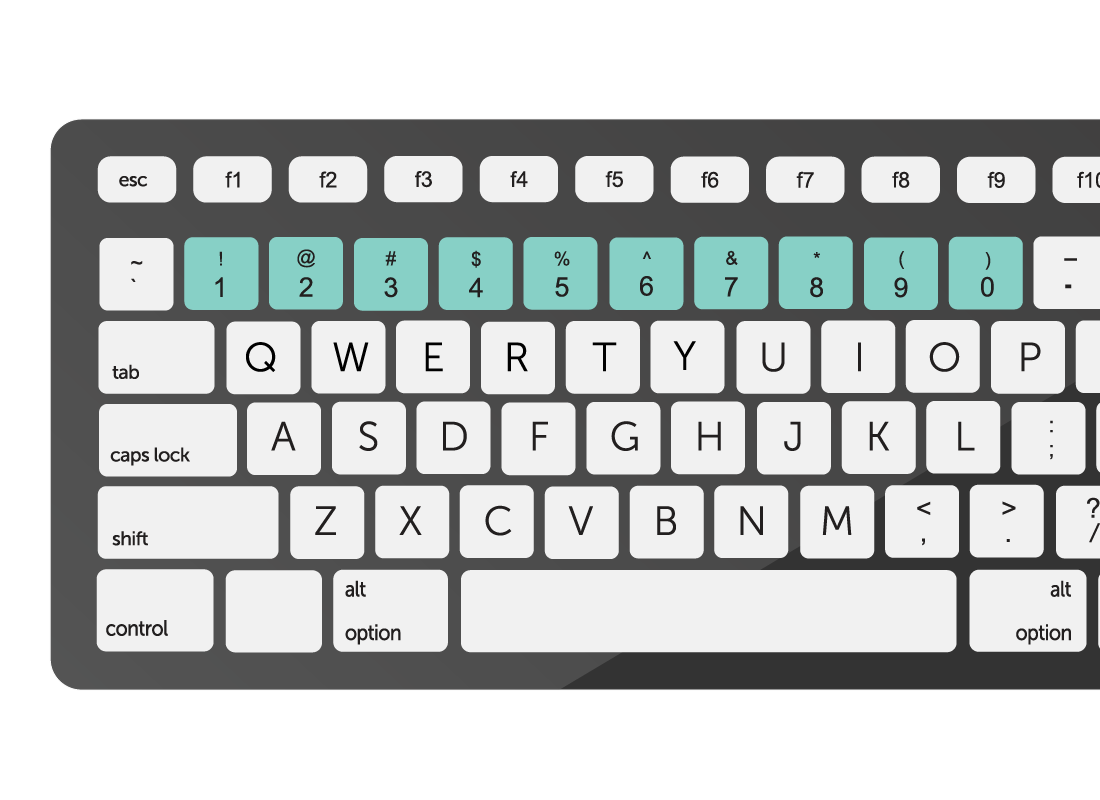 the number keys on a keyboard highlighted in green