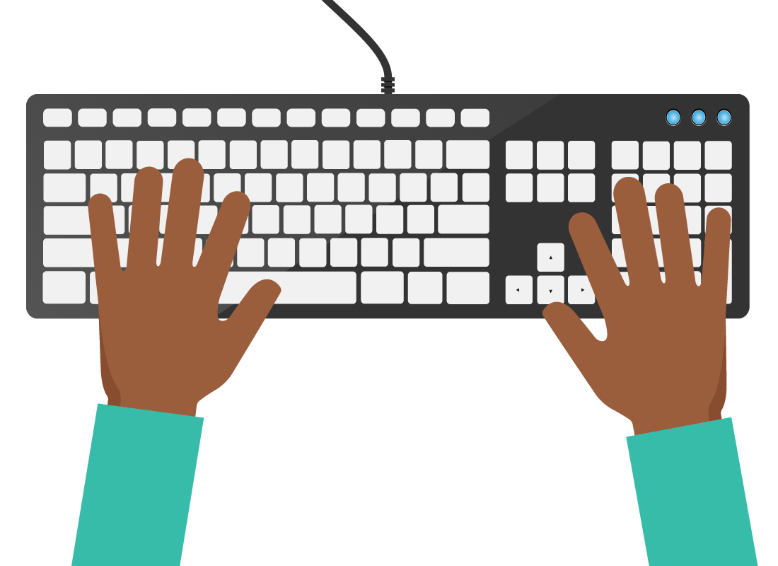 a close up of hands on a keyboard