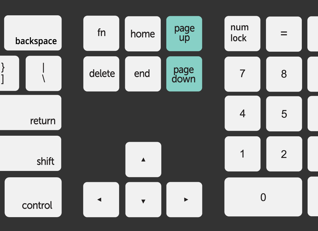 A close up of a keyboard with the Page up and Page down keys highlighted in green