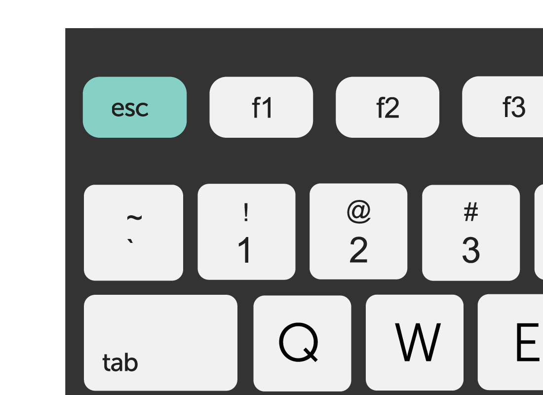 A graphic of the Esc key on a standard keyboard highlighted in green
