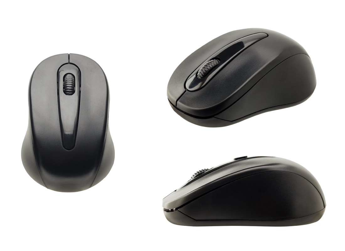 a computer mouse from three different angles