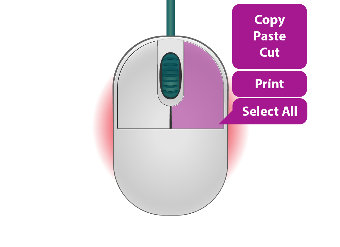 clicking the right mouse button displays a shortcut menu