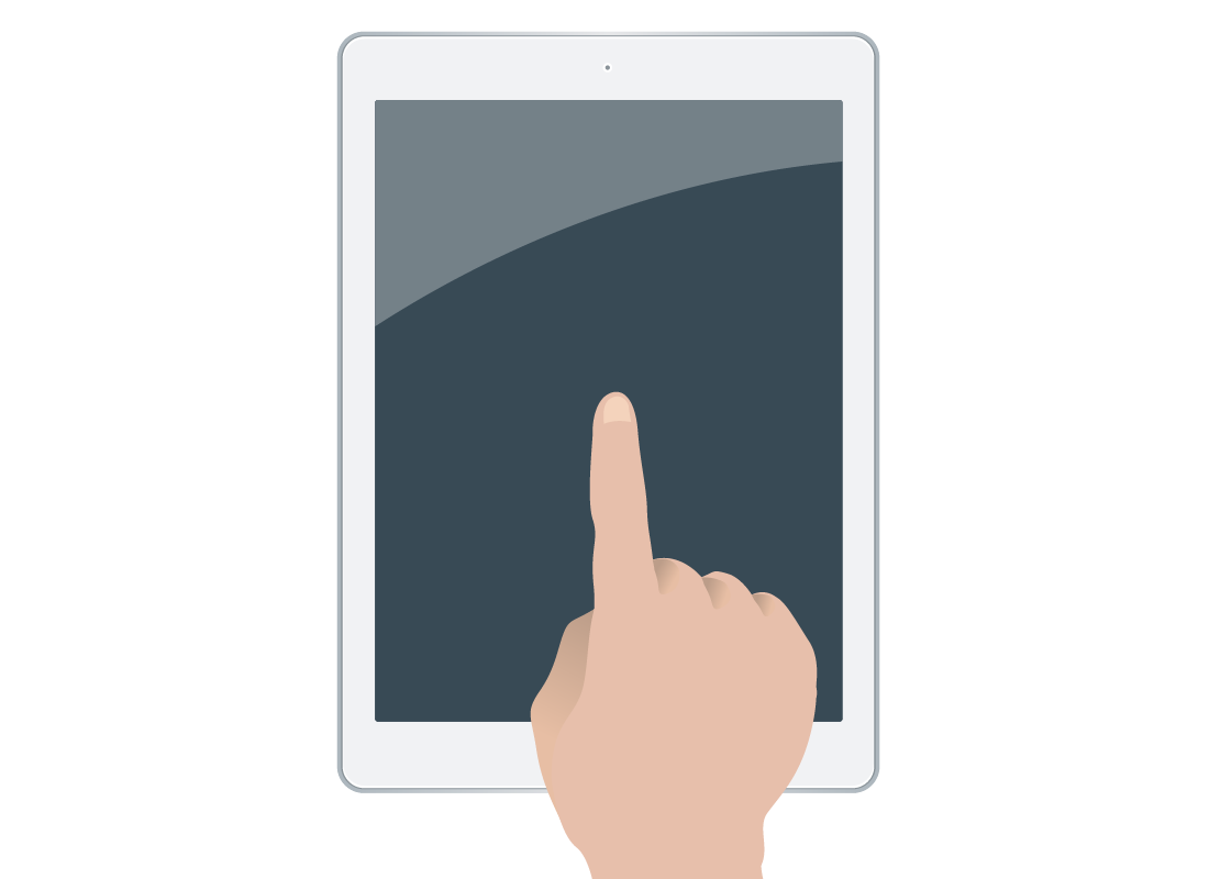 a close up of a hand tapping on a touchscreen