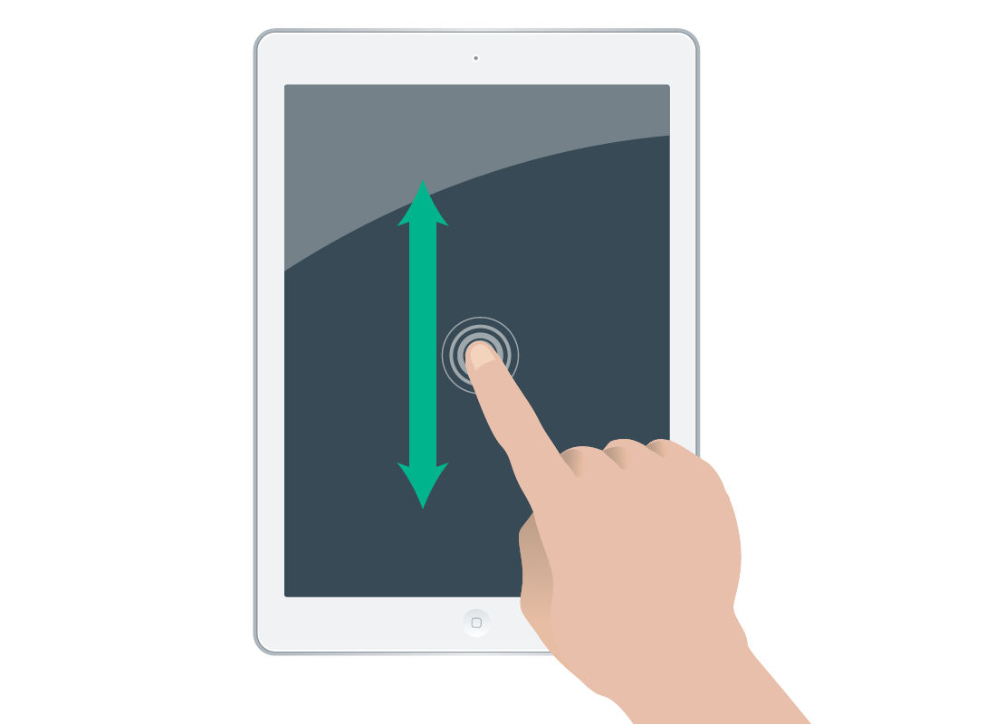 a finger sliding up and down on a touchscreen