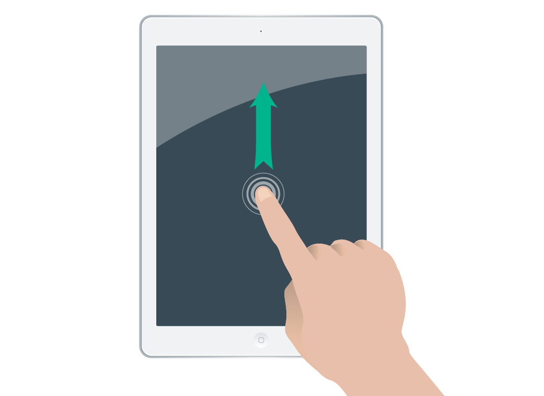 a finger sliding up to scroll content on a touchscreen