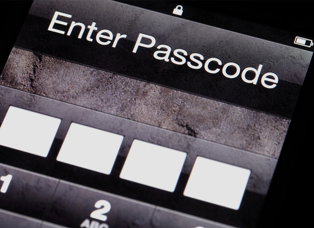a touchscreen displaying the passcode prompt