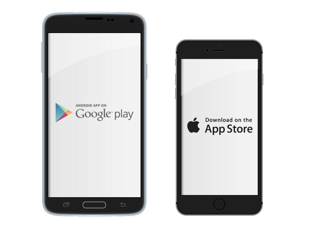 two different touchscreen devices - an Android device on the left and an Apple device on the right