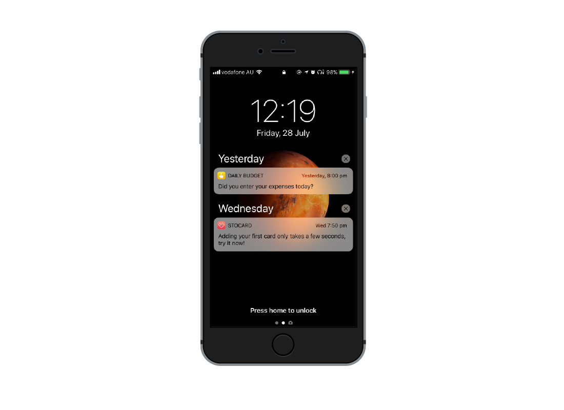 a smartphone showing a list of notifications on the screen