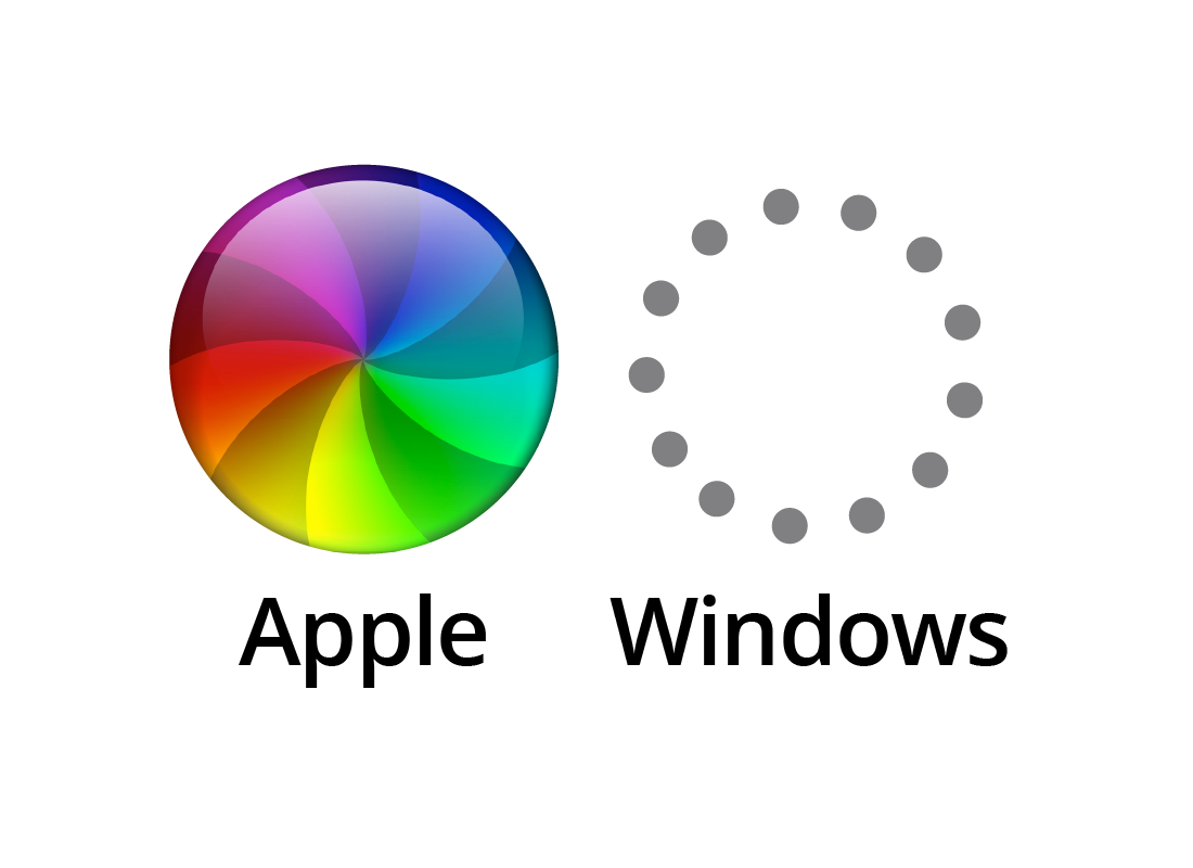 an example of an Apple and a Windows start up animation
