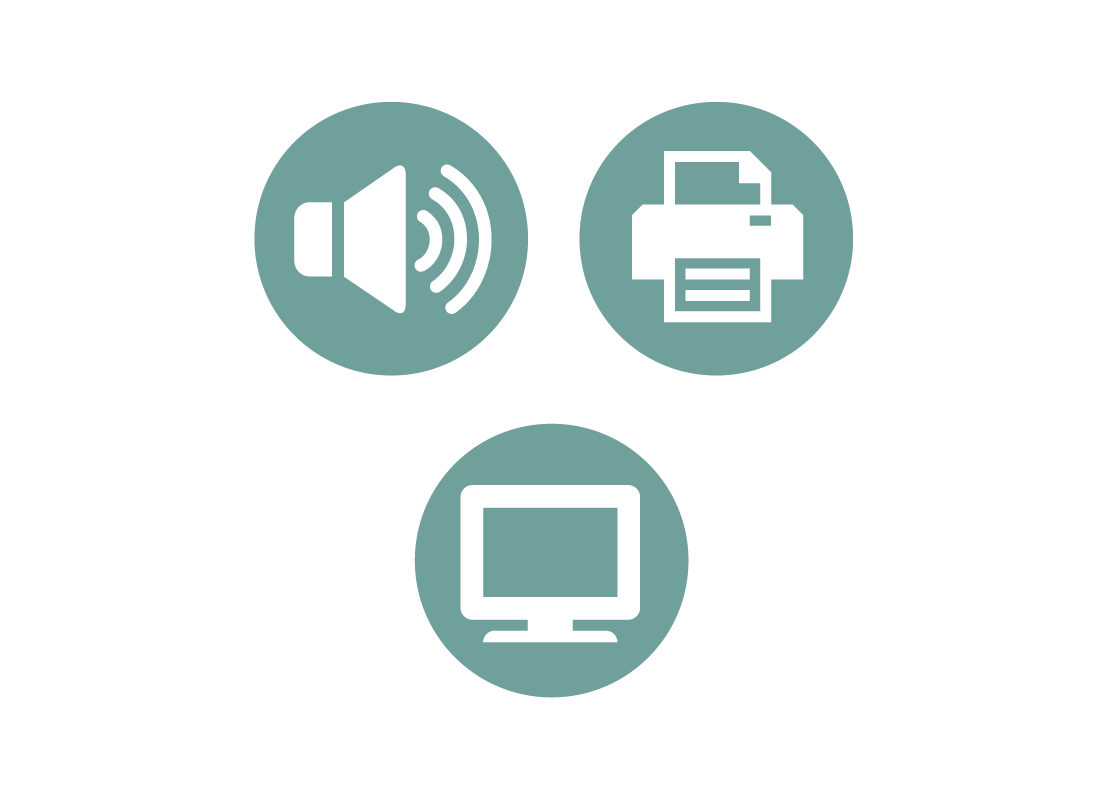 three icons for speakers, printer or screen