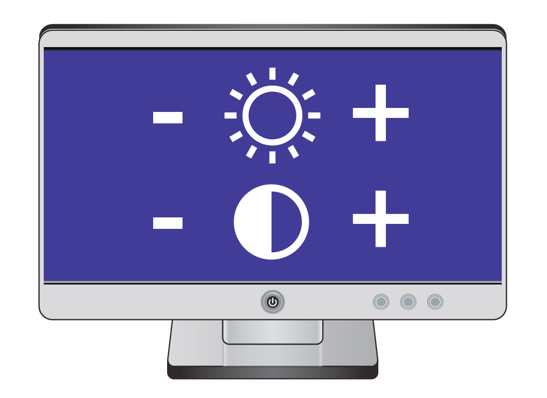 a computer screen displaying the symbols for increasing or decreasing brightness and contrast