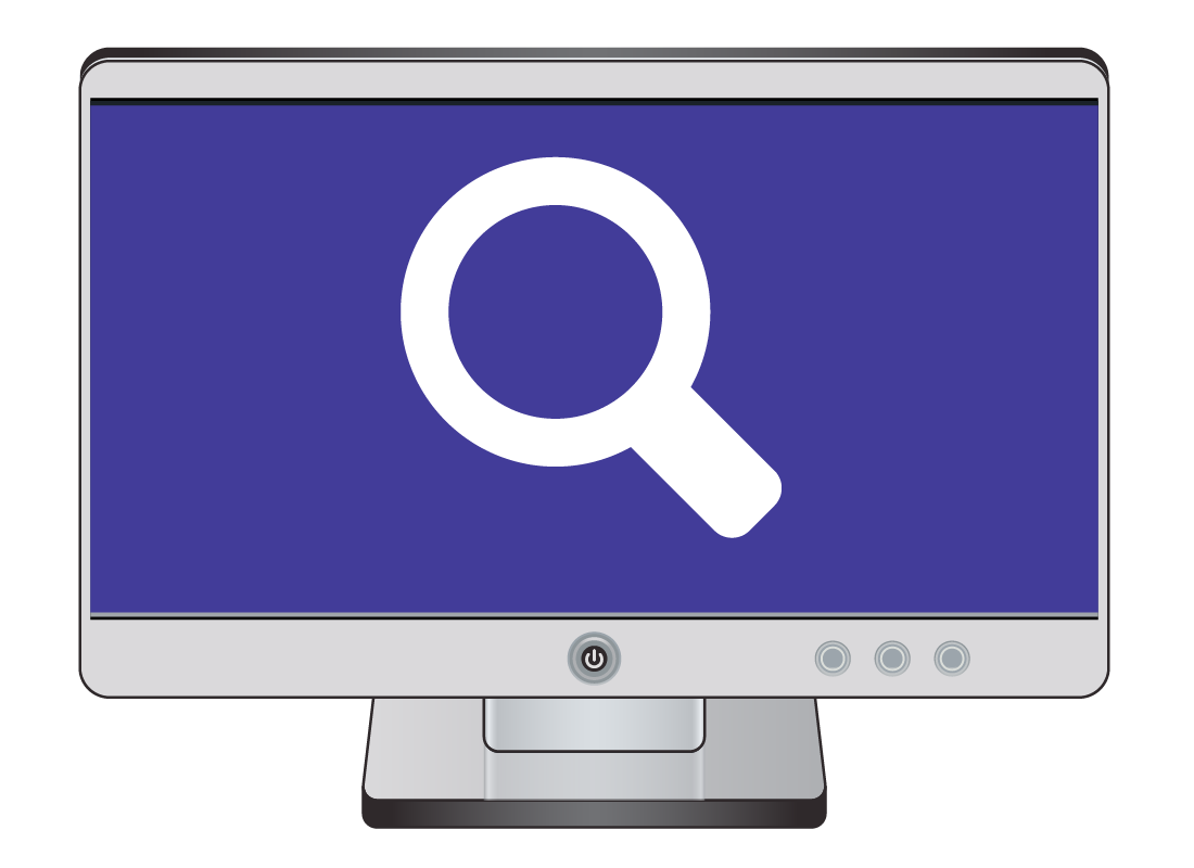 a large magnifying glass search symbol on a computer screen