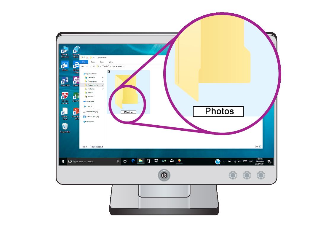 a close up of the Windows folder named Photos