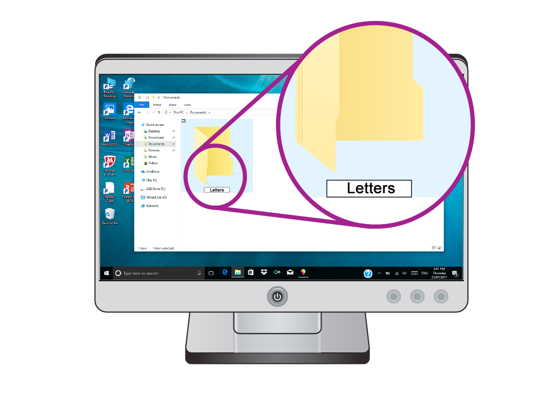 Sue creates a folder called Letters so she can find her letters easily