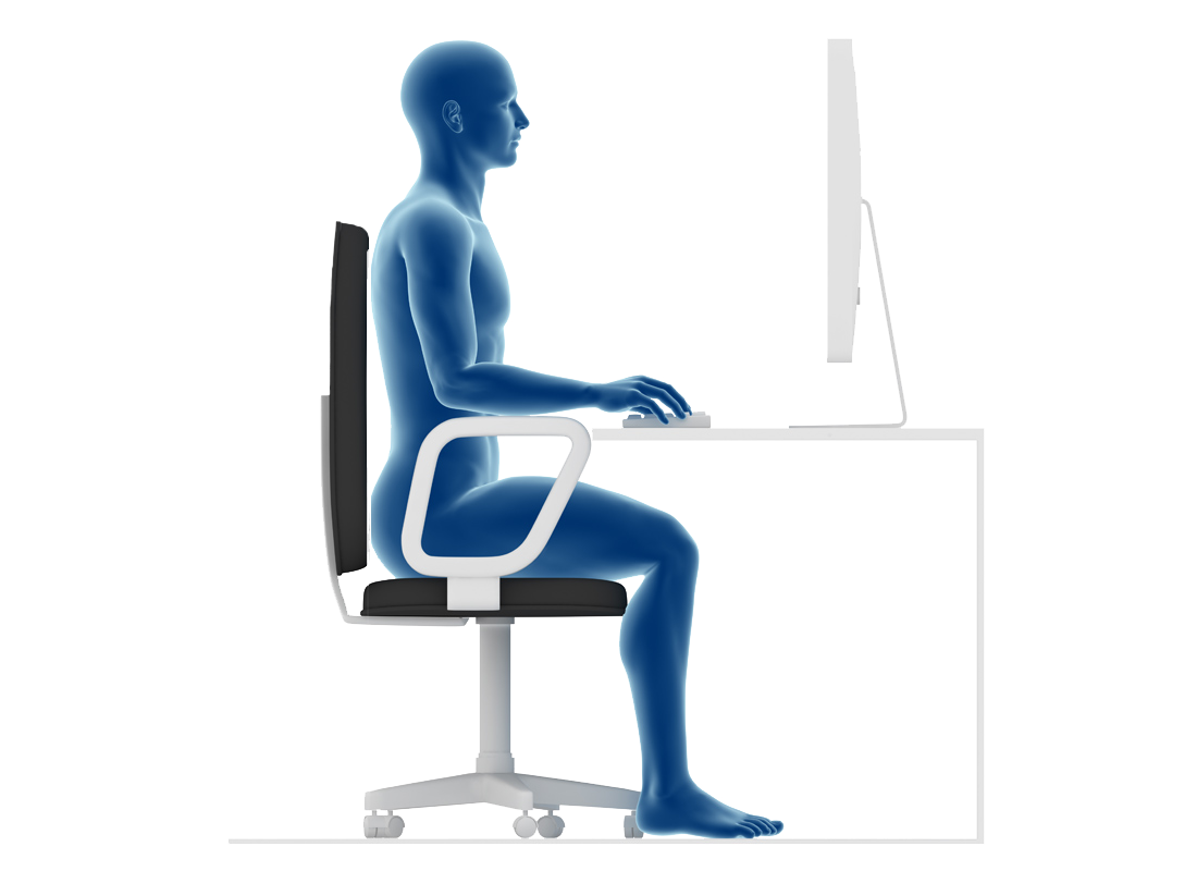 an example of someone sitting comfortably at a desk