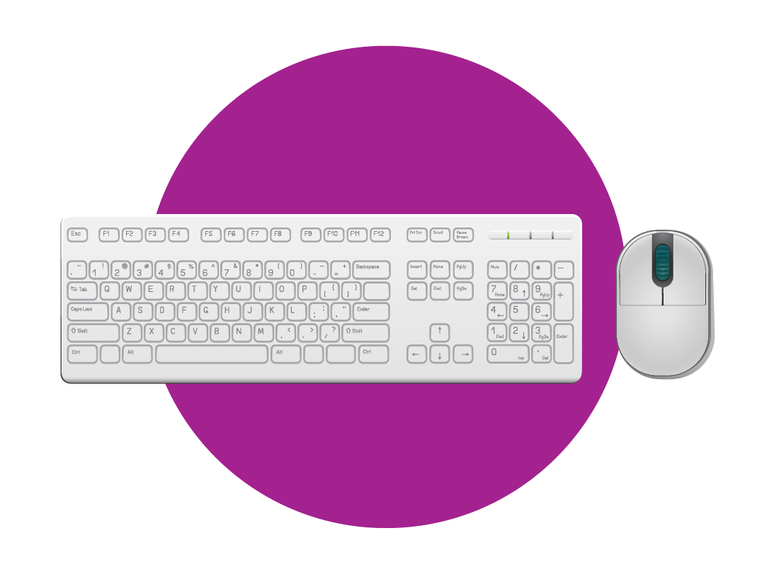 a computer mouse and keyboard