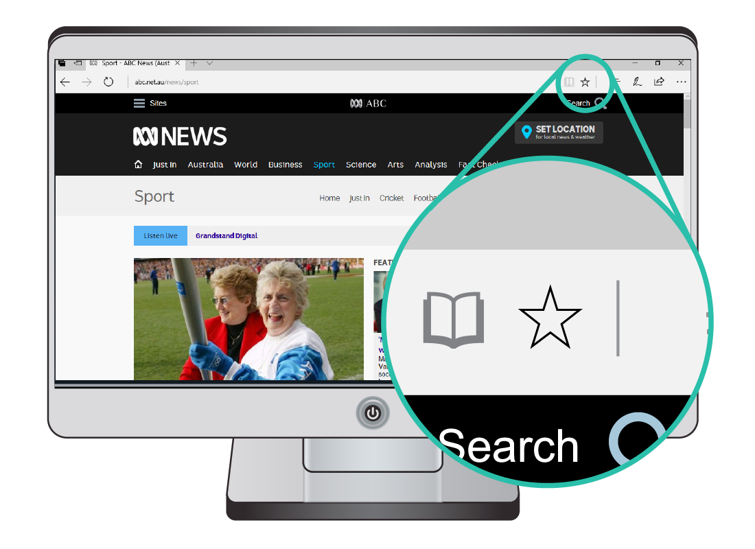 A computer shows the ABC news website and shows a zoomed in section, highlighting the bookmark symbol of a star in the top right corner of the browser window