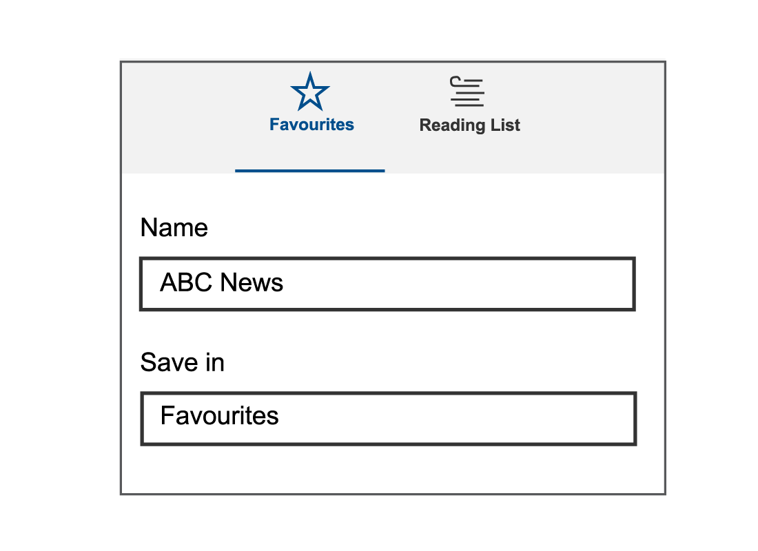 A window showing the options of naming and saving certain websites in your favourites menu on your browser