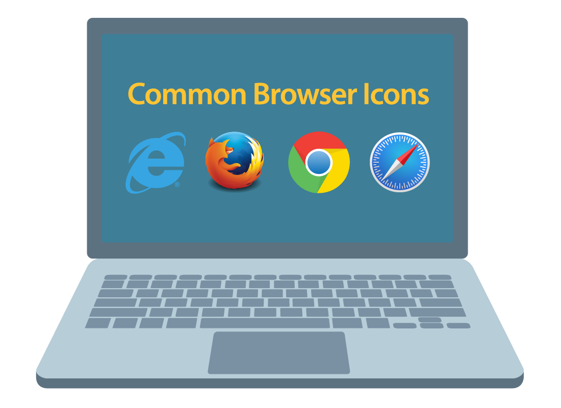 A computer screen shows the brand icons of common web browsers
