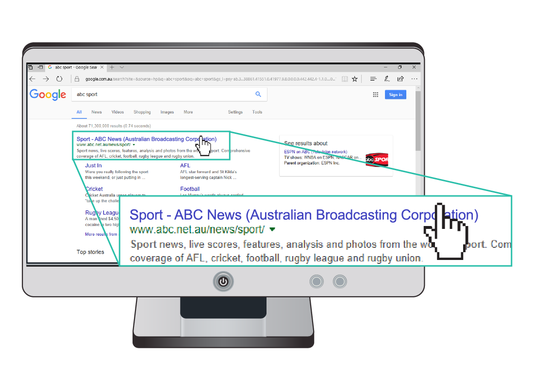 A Google search has loaded some results and shows a zoomed in section, highlighting the first search result as the ABC News Sport website. The blue text that is displayed are indicating a clickable link