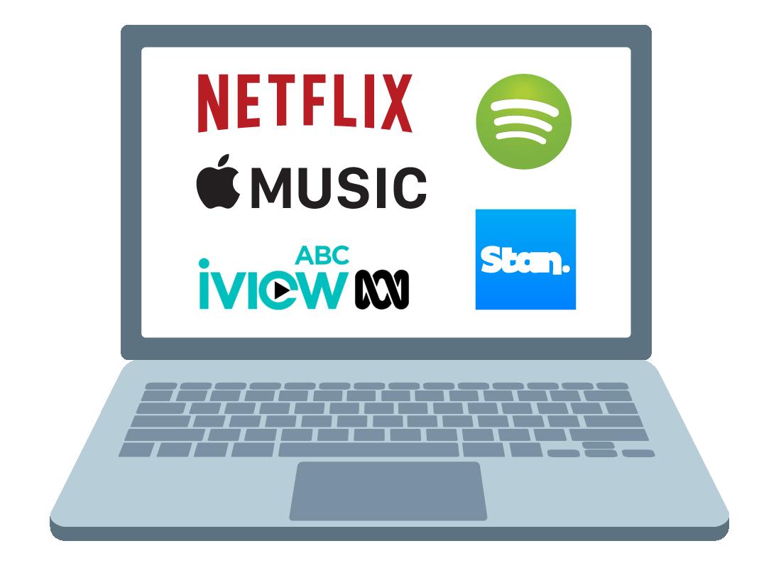 A computer screen shows various entertainment streaming logos.