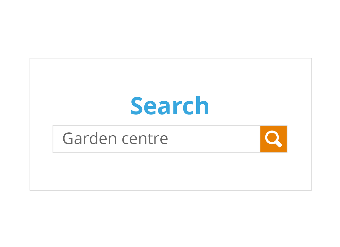 A sample search field with the words 'Garden centre' typed in