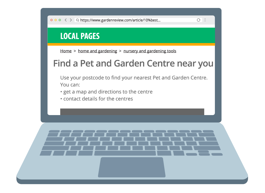 A sample website of how to find local garden centres