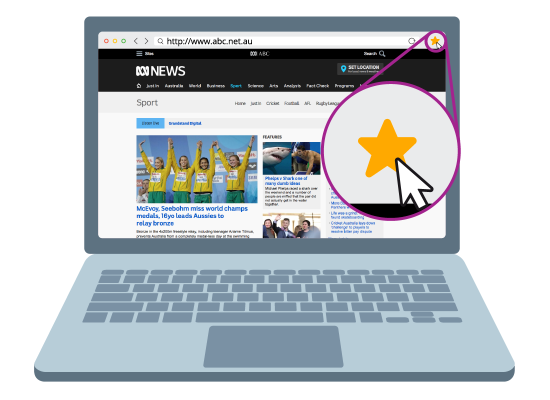 The ABC website with a magnified section of the top right corner of the page showing a bookmark star