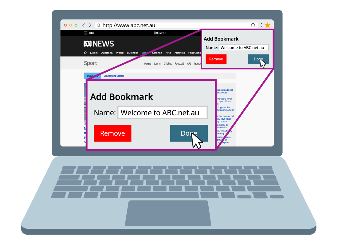 Shows an extra little window that has opened over the ABC website that enables you to add a bookmark
