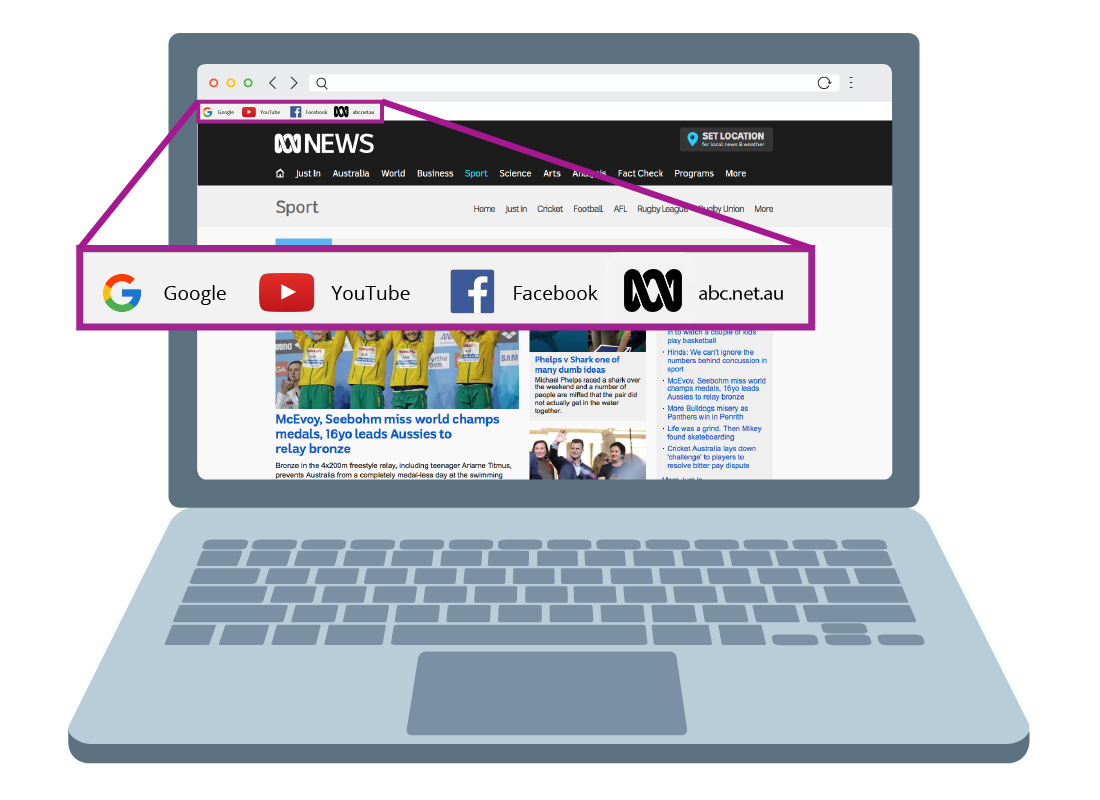 The ABC website with a magnified section of the top left corner of the page showing the bookmarks bar, including the newly saved ABC bookmark