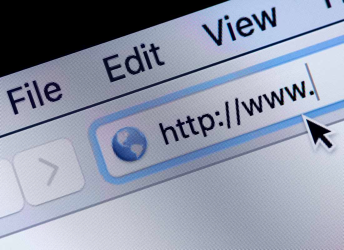 A close up image of a web address being typed into a browser window