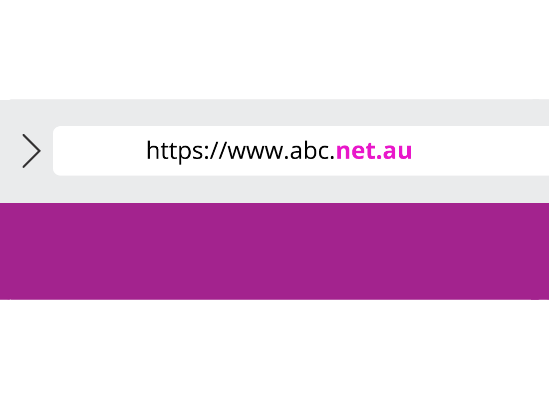 A website address is shown with 'net.au' highlighted