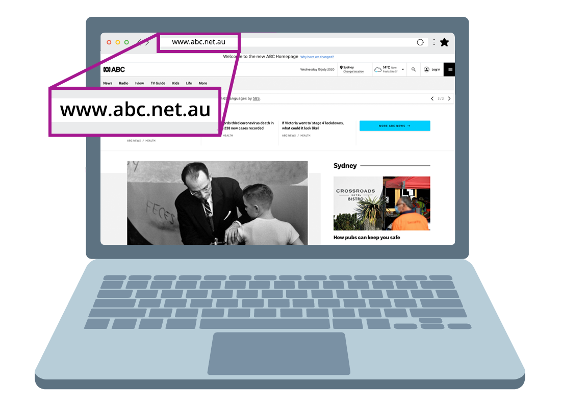 The ABC website is shown with a magnified example of the website address