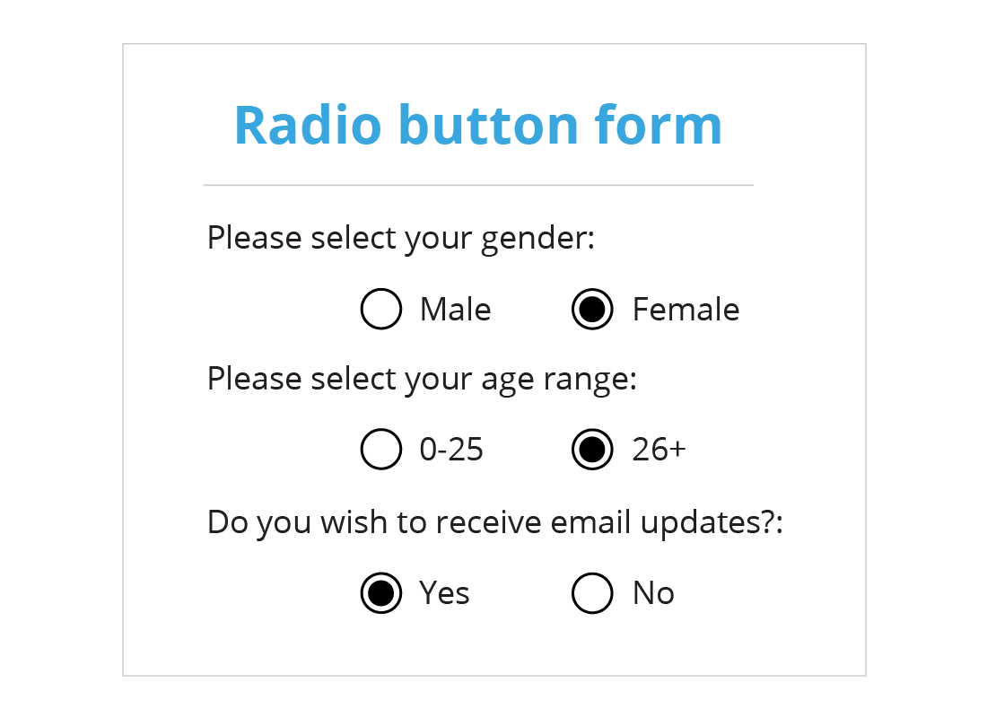 Example of radio buttons which are small circles that once selected, change colour to show what has been chosen.