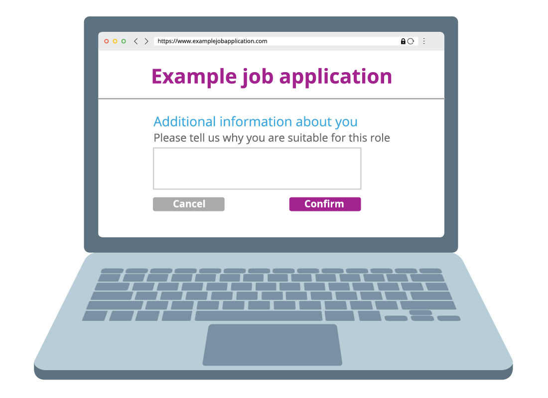 A computer screen shows an online job application screen requesting additional information about how suitable the applicant would be for the job