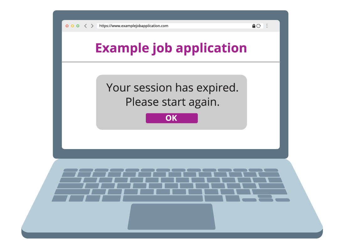 A computer screen shows a message that has popped up explaining that the session has expired and you will need to start again