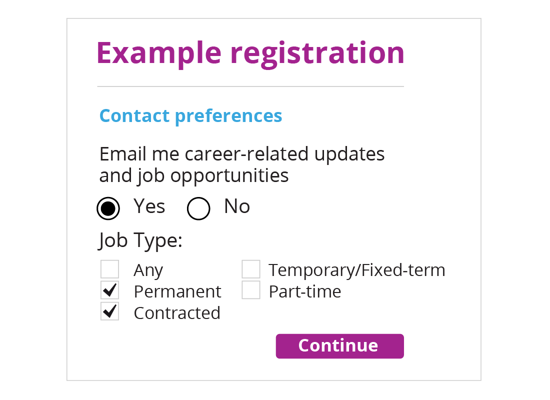 An example registration form including radio buttons asking if you mind being contacted about job updates and a list of check boxes with a variety of job types to choose from
