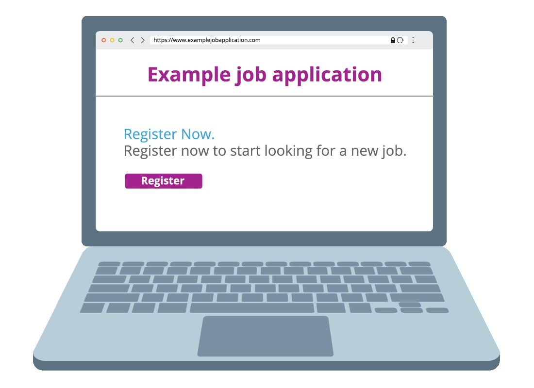 A computer screen shows an online job application registration screen