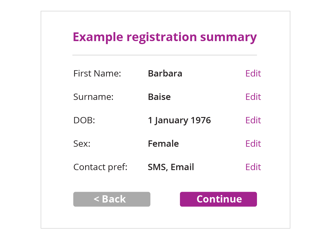 And example registration summary is filled in with details. Next to each line is an edit button incase you need to change any details afterwards