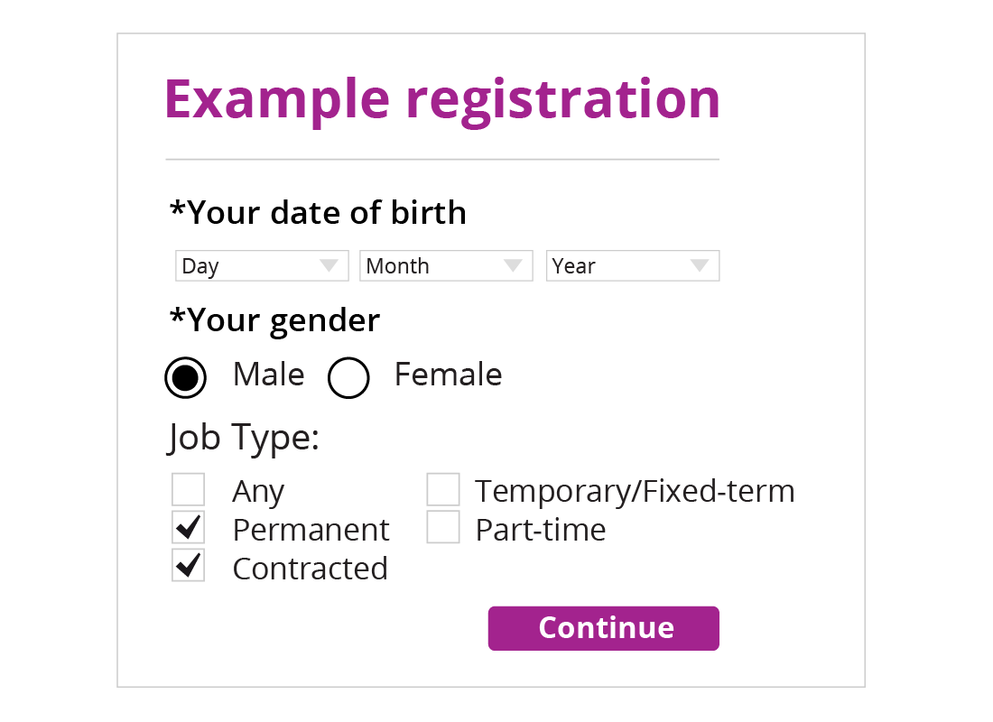 An example registration form including drop-down lists for date of birth, radio buttons for gender and check boxes for job type questions