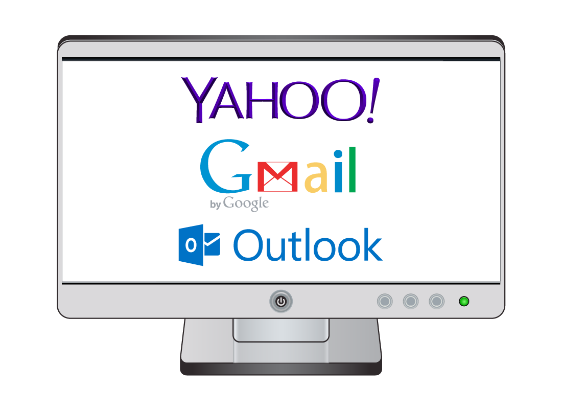 A computer screen shows various logos of email providers